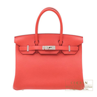 Hermes Birkin bag 30 Bougainvillier Clemence leather Silver hardware