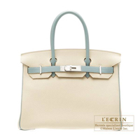 Hermes Personal Birkin bag 30 Parchemin/Ciel Togo leather Matt silver hardware