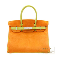 Hermes Personal Birkin bag 30 Orange/Anis green Velvet leather Silver hardware