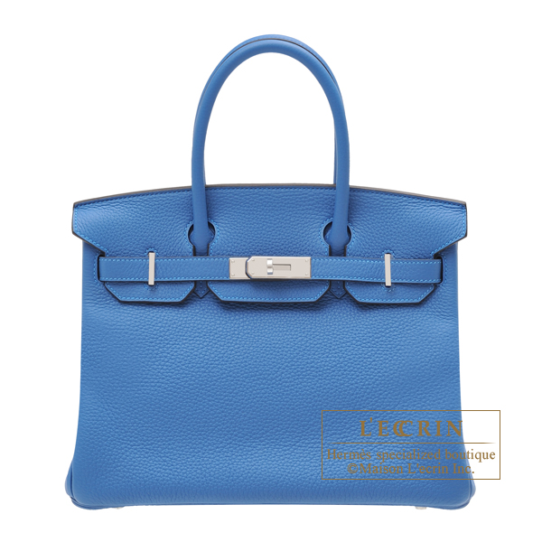 Hermes Birkin bag 30 Mykonos Clemence leather Silver hardware
