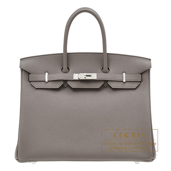 Hermes Birkin bag 35 Etain Togo leather Silver hardware