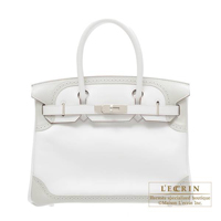 Hermes Birkin Ghillies bag 30 White/Pearl grey Swift leather Silver hardware