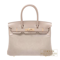 Hermes Birkin bag 30 Argile Grizzly leather/Swift leather Champagne gold hardware
