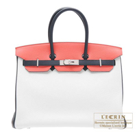 Hermes Personal Birkin bag 35 White/Blue obscurs/Rose jaipur Clemence leather Matt silver hardware
