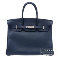 Hermes Birkin bag 35 Blue obscurs Clemence leather Silver hardware