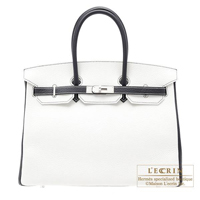 Hermes Personal Birkin bag 35 White/Blue indigo Clemence leather Matt silver hardware