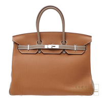 Hermes Personal Birkin bag 35 Gold/ Etoupe grey Togo leather Matt silver hardware