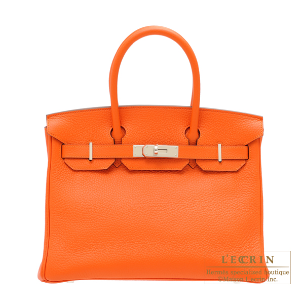 Hermes Birkin bag 30 Feu Clemence leather Silver hardware
