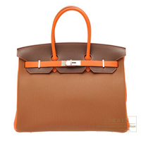 Hermes Personal Birkin bag 35 Gold/ Brulee/ Orange Togo leather Silver hardware