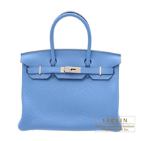 Hermes Birkin bag 30 Blue paradise Clemence leather Silver hardware