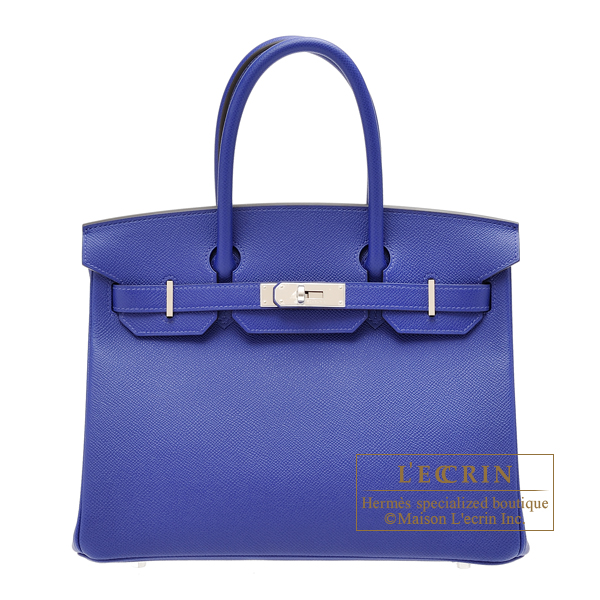 Hermes Birkin bag 30 Blue electric Epsom leather Silver hardware
