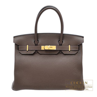 Hermes Birkin bag 30 Cacao Clemence leather Gold hardware