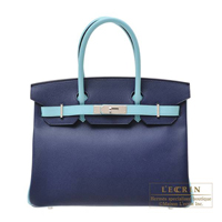 Hermes Personal Birkin bag 30 Blue saphir/Blue atoll Epsom leather Silver hardware