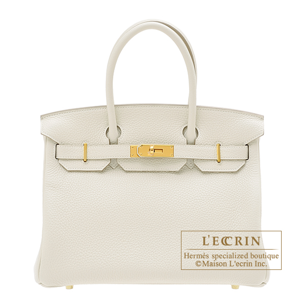 Hermes Birkin bag 30 Craie Clemence leather Gold hardware