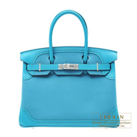 Hermes Birkin Ghillies bag 30 Turquoise blue Togo leather/ Swift leather Silver hardware