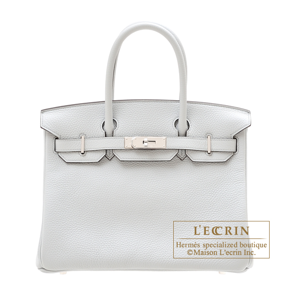 Hermes Birkin bag 30 Blue pale Clemence leather Silver hardware