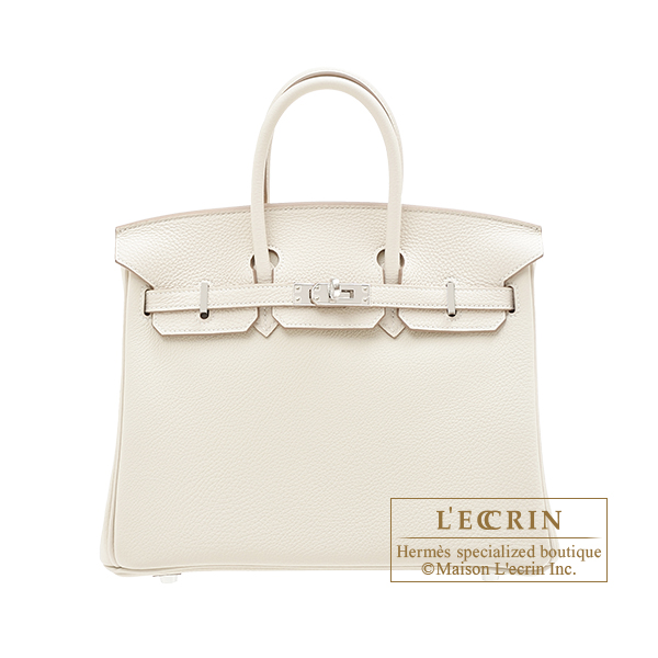 Hermes Birkin bag 25 Craie Togo leather Silver hardware