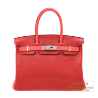 Hermes Personal Birkin bag 30 Rouge casaque/Rose jaipur Clemence leather Silver hardware