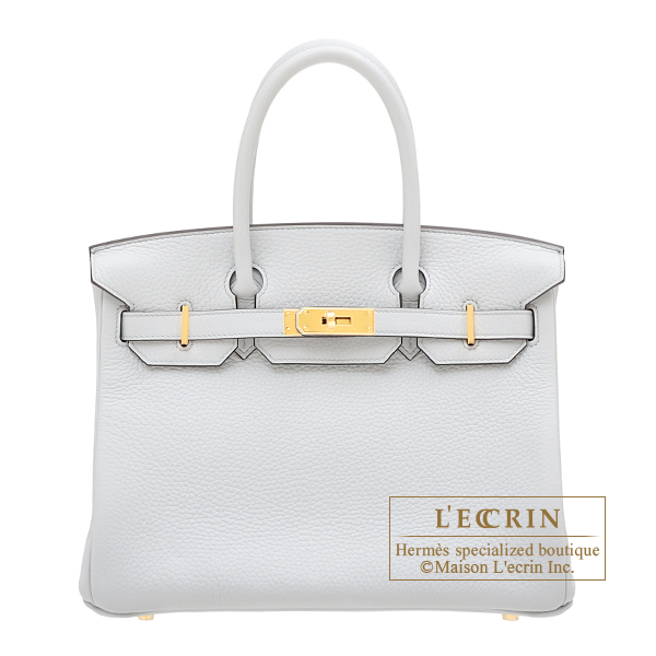 Hermes Birkin bag 30 Blue pale Clemence leather Gold hardware