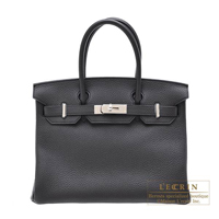 Hermes Birkin bag 30 Plomb Clemence leather Silver hardware