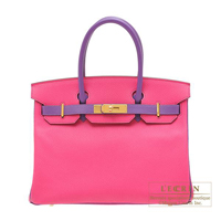 Hermes Personal Birkin bag 30 Rose tyrien/ Parme Chevre myzore goatskin Gold hardware