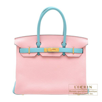 Hermes Personal Birkin bag 30 Rose sakura/ Blue atoll Clemence leather Gold hardware