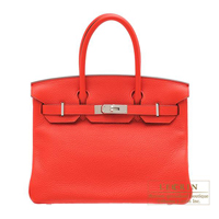Hermes Birkin bag 30 Rouge tomate Clemence leather Silver hardware