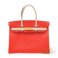 Hermes Personal Birkin bag 30 Rouge tomate/Craie Epsom leather Gold hardware