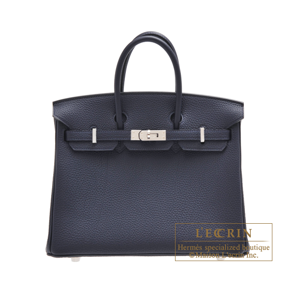 Hermes Birkin bag 25 Blue nuit Togo leather Silver hardware