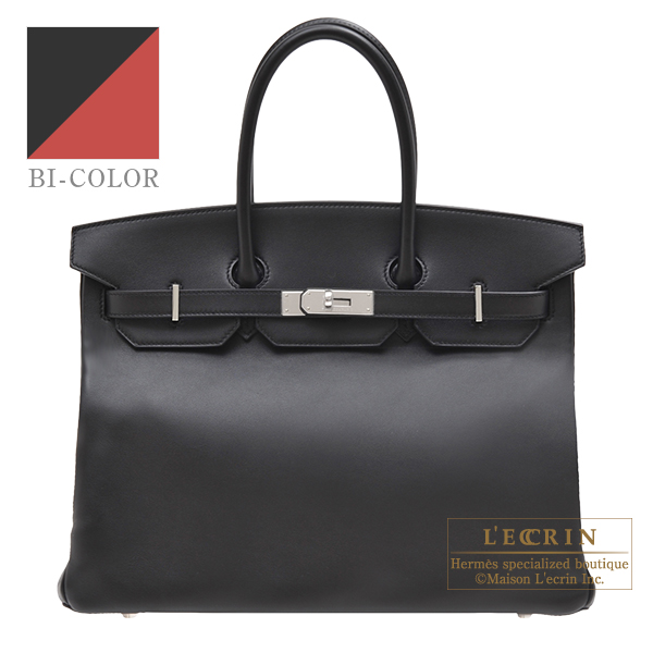 Hermes Personal Birkin bag 35 Black/Rouge H Swift leather Silver  hardware