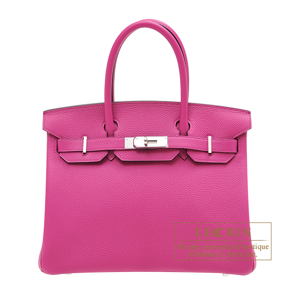 Hermes Birkin bag 30 Rose purple Togo leather Silver hardware