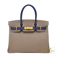 Hermes Personal Birkin bag 30 Etoupe grey/ Blue saphir Epsom leather Gold hardware