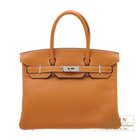 Hermes Birkin bag 30 Toffee Clemence leather Silver hardware