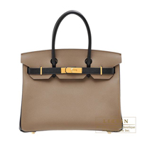 Hermes Personal Birkin bag 30 Etoupe grey/ Black Epsom leather Gold hardware