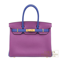 Hermes Personal Birkin bag 30 Anemone/ Blue electric Togo leather Gold hardware