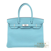 Hermes Birkin bag 30 Blue atoll Clemence leather Silver hardware