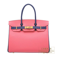 Hermes Personal Birkin bag 30 Rose azalee/ Blue saphir Epsom leather Gold hardware