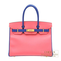Hermes Personal Birkin bag 30 Rose azalee/ Blue electric Epsom leather Gold hardware