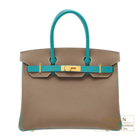 Hermes Personal Birkin bag 30 Etoupe grey/ Blue paon Epsom leather Matt gold hardware