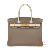 Hermes Personal Birkin bag 30 Etoupe grey/ Craie Togo leather Gold hardware