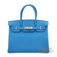 Hermes Birkin bag 30 Blue zanzibar Togo leather Silver hardware