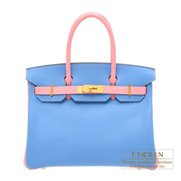 Hermes Personal Birkin bag 30 Blue paradise/ Rose confetti Epsom leather Matt gold hardware