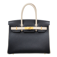 Hermes Personal Birkin bag 30 Black/Craie Togo leather Matt gold hardware