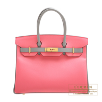 Hermes Personal Birkin bag 30 Rose azalee/ Gris mouette Epsom leather Gold hardware