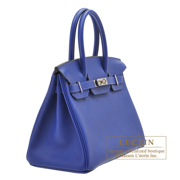Hermes Birkin bag 30 Blue electric Novillo leather Silver hardware