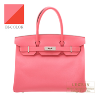 Hermes Personal Birkin bag 30 Rose azalee/ Vermillon Epsom leather Silver hardware