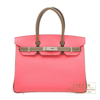 Hermes Personal Birkin bag 30 Rose azalee/ Etoupe grey Epsom leather Silver hardware