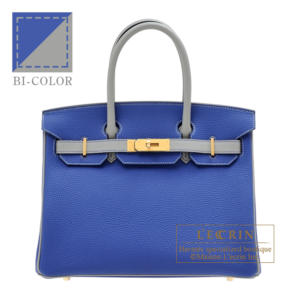 Hermes Personal Birkin bag 30 Blue electric/ Gris mouette Togo leather Matt gold hardware