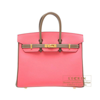 Hermes Personal Birkin bag 25 Rose azalee/ Etoupe grey Epsom leather Gold hardware