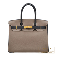 Hermes Personal Birkin bag 30 Etoupe grey/ Black Togo leather Gold hardware